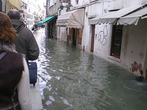 Image of the famous Acqua Alta in Venice, Italy