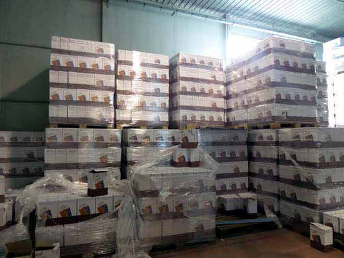 Pallets of wine that are awaiting shipping to the consumer